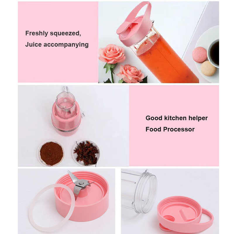 500W Portable Juicer Listrik Smoothie Blender Mesin Mixer Juice Mini Smoothie Blender Juicer Extractor Penggiling Daging