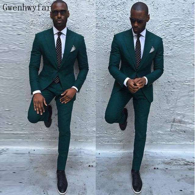 Gwenhwyfar Dark Green Slim Men Suits 2018 Handsome Mens Wedding ...