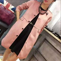 Suede coat women Spring Autumn warm long windbreaker coat Elegant waisted overcoat plus size