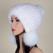 Winter Warm Hat for Women Real Mink Fur Knitted Beanies Cap with Fox Fur Pom Poms 2016 Female Hats with Lining womens winter hat