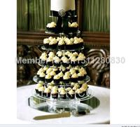 The latest manufacturers selling European acrylic 6 tier cake tower wedding cake decorations acrylic cupcake stand decoration