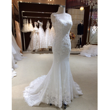 Elegant O Neck Tulle Lace Mermaid Bridal Dress Real Photos Appliques Sequins Wedding Dresses Sexy Sleeveless Bridal Gowns 2017