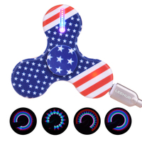 VKTECH 15Colors LED Light Hand Spinner USB EDC Focus Finger Gyro For Kids Autism ADHD Anxiety