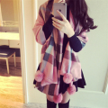 Women Winter Splice Plaid Wool Scarf Pompom Rabbit Fur Ball Scarves Pashmina Shawl 2 colors
