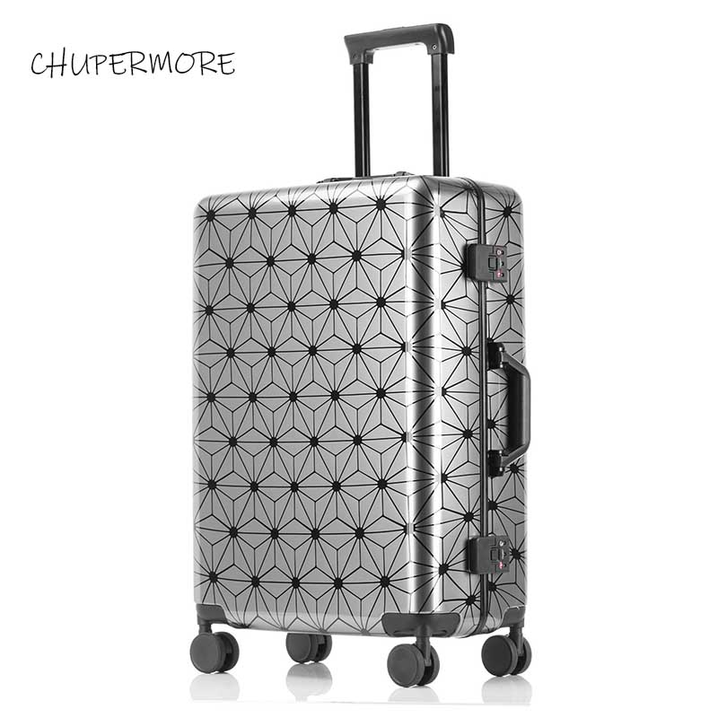 Luxury high quality 100% aluminum frame fashion Rolling Luggage Spinner  brand Travel Bags Men Business Suitcase