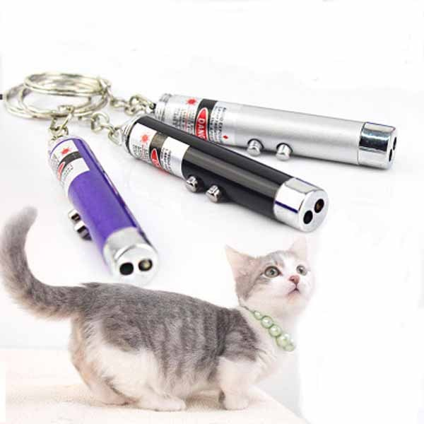 1pc Funny Laser Cat Toys Interactive Cat Teaser Toy Red Blue Laser Pointer Pen 6*1cm A013306