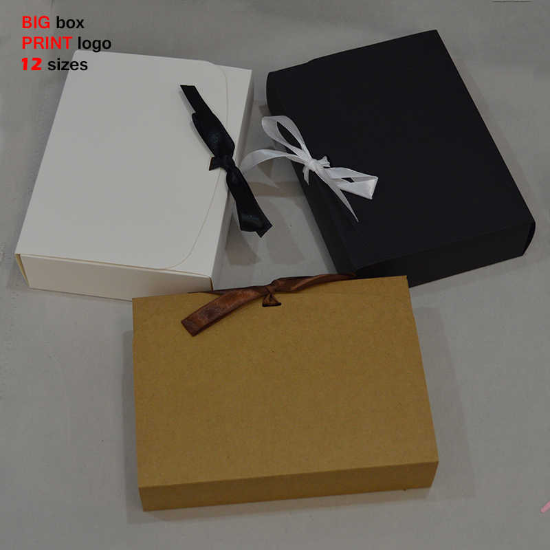 10pcs Large Gift Box With Ribbon Big Craft Box Wedding Favors boxes Cake Package White Black Paper Gift Box Large For Party