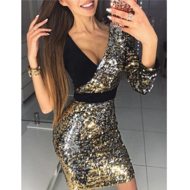 2018 New Fashion Women Long Sleeve One Shoulder Bodycon Sexy Sequins Party Evening Mini Club Dress Deep V-neck Short Dresses