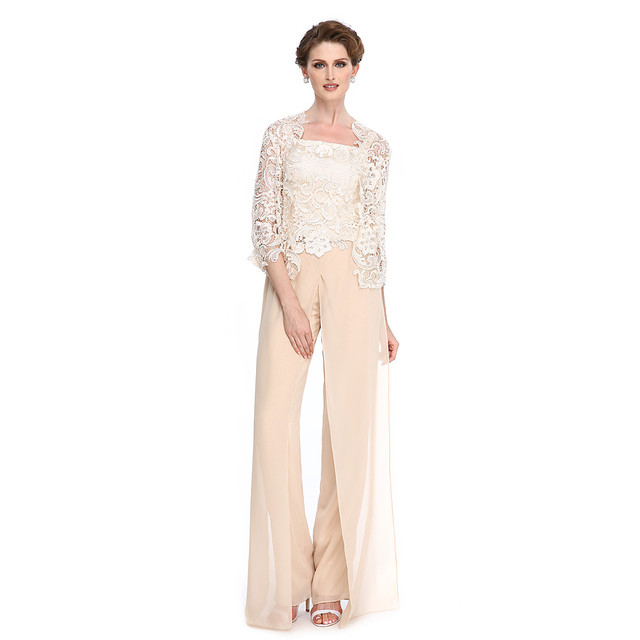 2018 Mother of the Bride Dresses with Lace Pantsuits outfits Champagne Chiffon Sheer 3/4 Sleeves Strapless Vestidos De madrinha