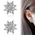 New Hollowed Design Earrings Full Rhinestones SnowFlaker Stud Earrings For Women Gift Boucle d'oreille Silver Plated