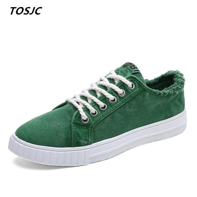 TOSJC איש אופנה מקרית Sneaker תחרה עד גופר נעלי Zapatos Hombre איש שטוח נעלי בגיל ההתבגרות באביב קיץ נעלי ירוק צבע