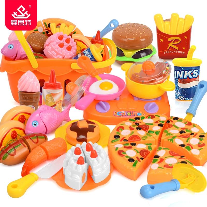 Children Kitchen Toy Girls Pretend Play Plastic Food Cooking ...