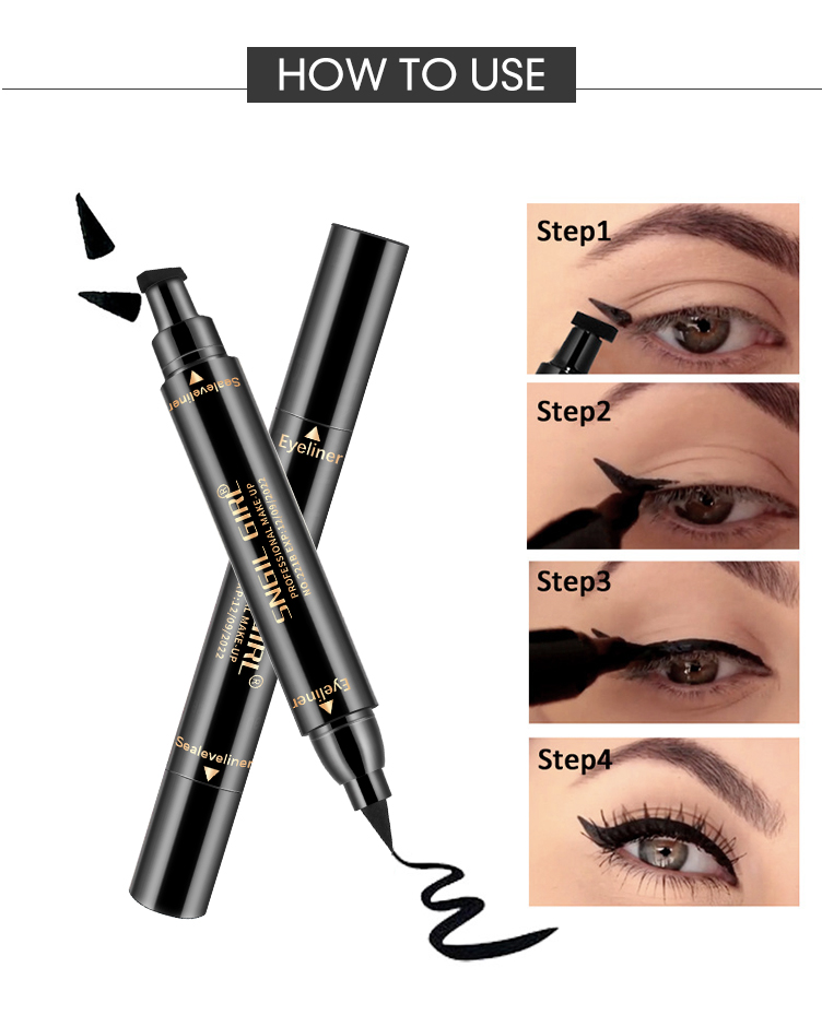 QIC Black Double-head Eyeliner Pen Waterproof Long Lasting Smooth Makeup 2 in 1 Eyes Liner Pencil Stamp maquiagem profissional