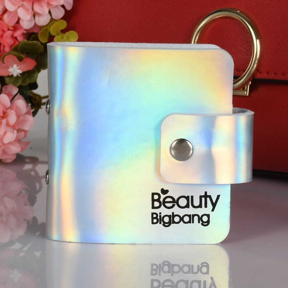 BEAUTYBIGBANG 6*6cm 18 Slots Nail Art Stamp Organizer Laser Stamping Plate Holder Empty Case Bag