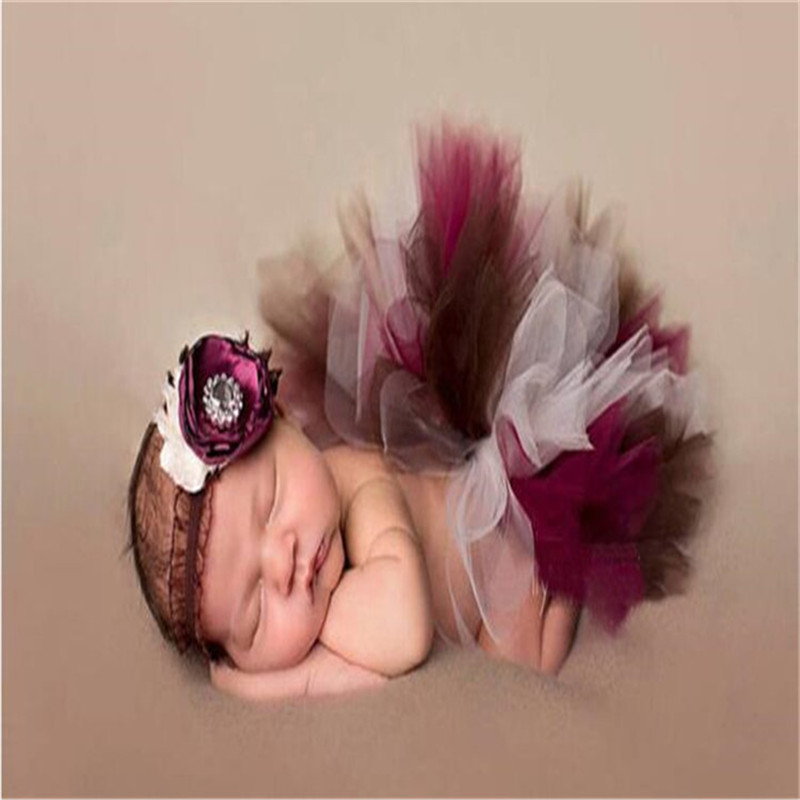 Newborn Photography Props Red Baby Photo Props Tulle Tutu Skirt Bowknot Photography For 0-6 Months Baby Girl Newborn Fotografia