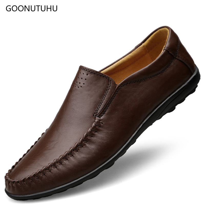 Man shoes leather genuine loafers 2018 new style men's casual shoes - Men's Shoes