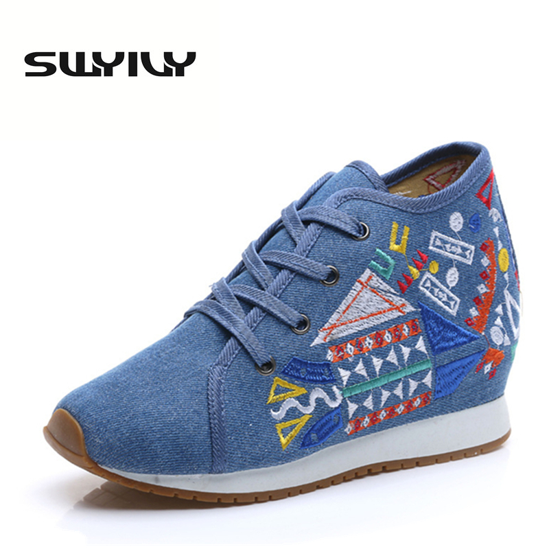SWYIVY Canvas 5CM Height Increase Wedge Women Walking Shoes Geometry  Pattern Embroidered High-top Lacing 71a4b7a5f968
