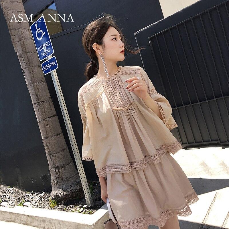 Style Une New Forme white Vêtements Apricot Pièces Évider 2018 Deux Ensemble Femmes Fille 3076 Dentelle Summer uJc35TlKF1