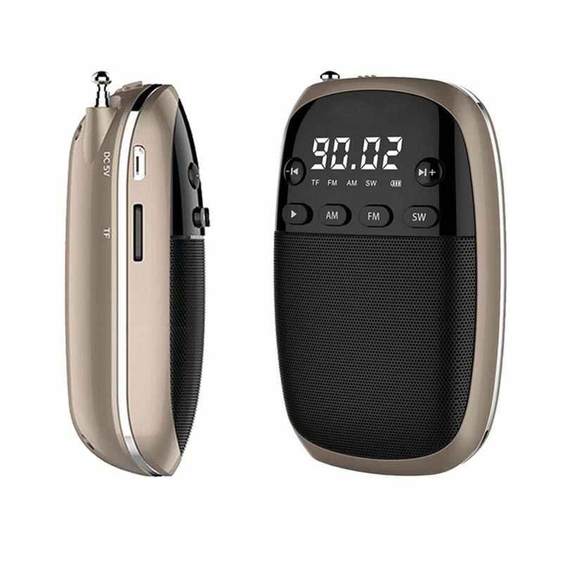JUNKE FM/AM/SW Radio receptor MP3 Mini Radio portátil con batería recargable auriculares Jack soporte TF tarjeta caja de reproducción