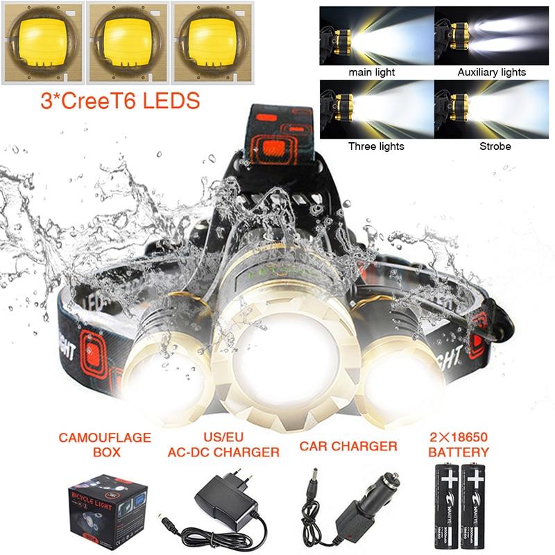 Koplamp Cree T6 Zaklamp Voorhoofd 10000 Lumen Zoom Focus 4 Verlichtingsmodi Oplaadbare Camping Hoofdlamp met batterij 18650