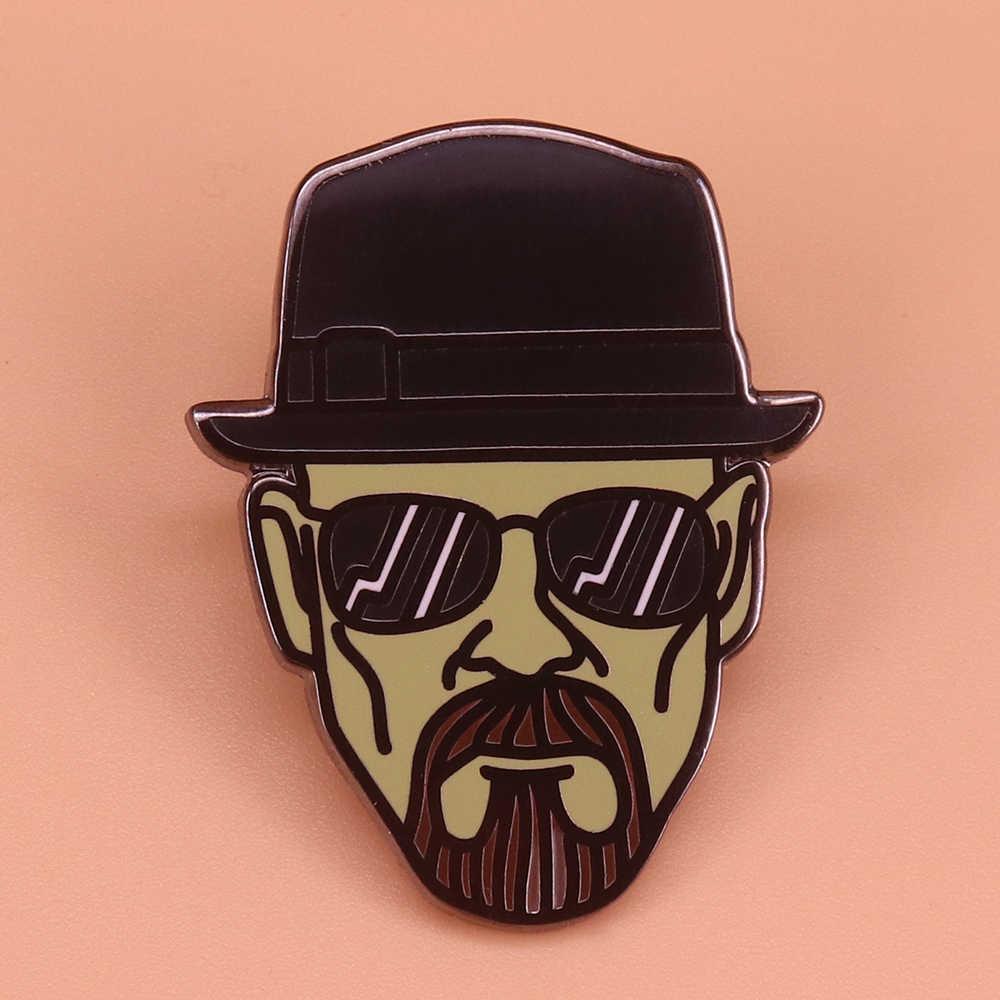 속보 나쁜 Heisenberg 브로치 멋진 검은 모자 옷깃 핀 번개 볼트 선글라스 남자 배지 빈티지 보석 셔츠 자켓 액세스