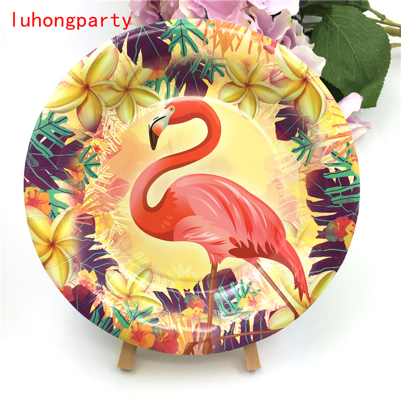 10pcs Flamingo theme 7inch paper plates for kids Flamingo birthday party Tableset Flamingo decoration in Disposable Party Tableware from Home Garden