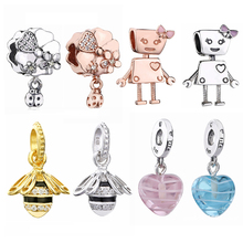 f691585a7 2018 Newest sterling 925 silver pandora bella bot charms pink ribbon heart  dangle bee beads fit ...