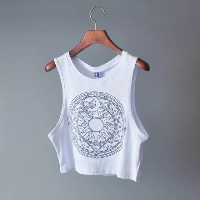 New Womens Tanks Loose Gothic Symbols Moon Sun Printing Crop Top Cropped Top Sleeveless Camis Tank Top 3