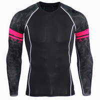Men Compression Shirts MMA Rash Guard Keep Fit Fitness Long Sleeves Base Layer Skin Tight Weight