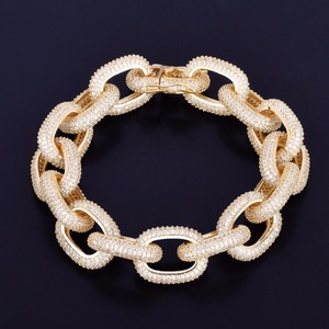 Image 3 - 18mm Chunky AAA Zircon Round Cuban Link Bracelet Mens Hip hop Jewelry Gold Color Chain Bangle 7 9""