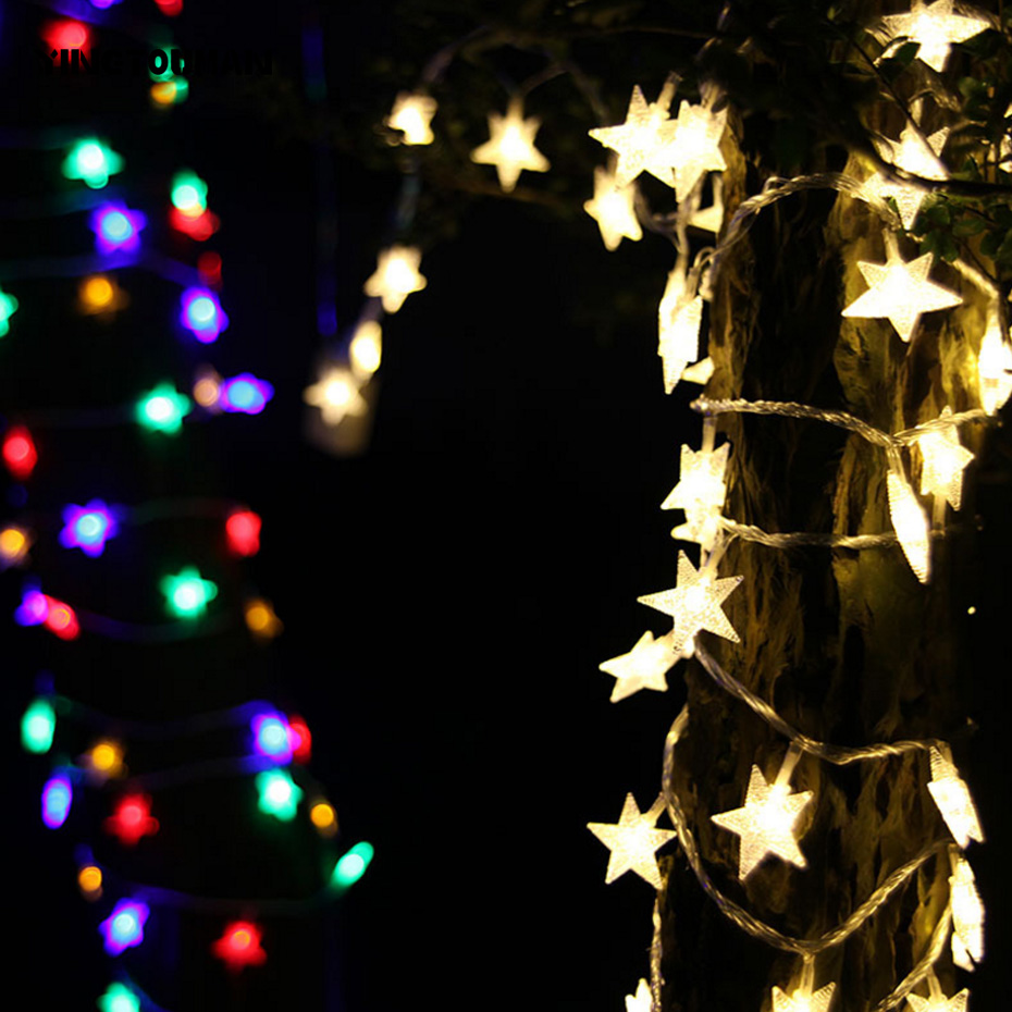 YINGTOUMAN 10m Five-pointed Star Light String Battery Powered New Year Christmas Party Decoration LEDs Garland Light For Weddin