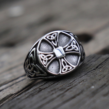 Mens 316L Stainless Steel Rings Silver Celtics Knot Cross Signet Ring Fashion Biker Jewelry