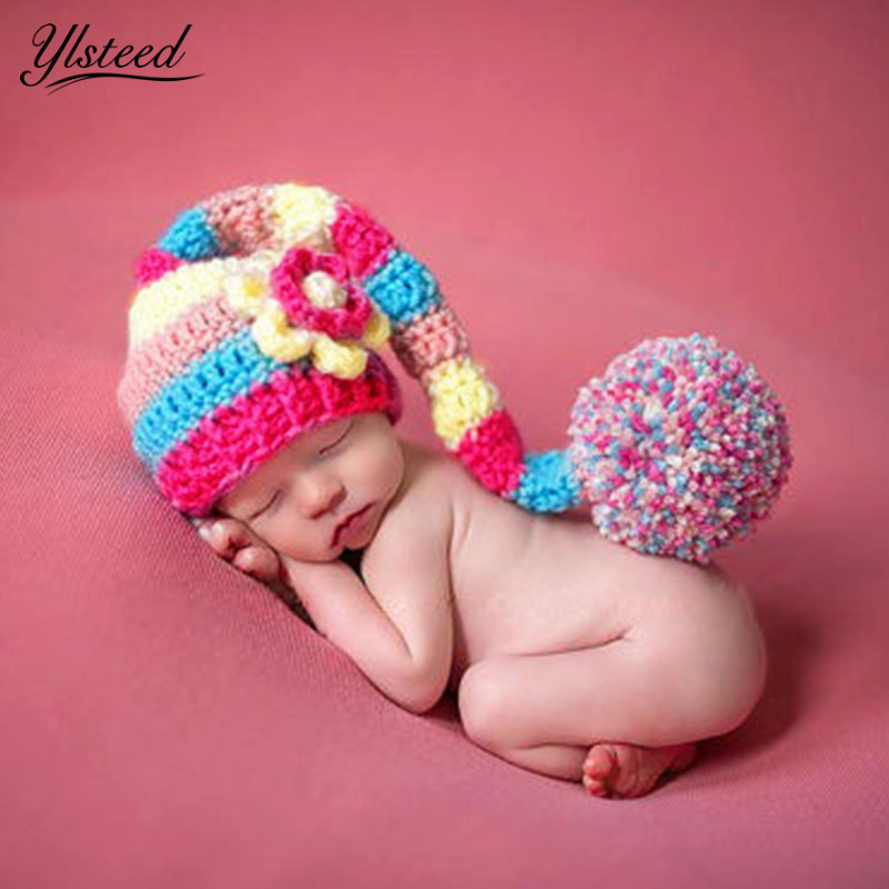 Crochet Baby Hat Multicolor Flowers Long Tail Beanies Knitted Newborn Pom  Pom Hats Infant Photography Props Baby Picture Props-in Hats   Caps from  Mother ... afb78106d56d