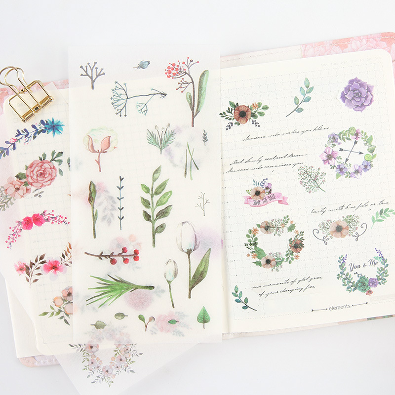 6 Sheets Fresh Plants Flowers Adhesive Stickers Decorative Album Diary Stick Label Paper Hand Account Decor Stationery Stickers 1pc 1 2 to 3 sanitary stainless steel 304 ferrule tri clamp end cap