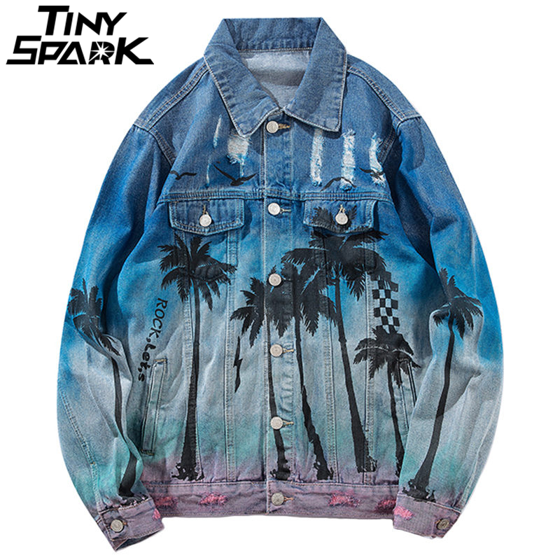Vintage Denim Bomber Jacket Ripped Holes Sea Beach Coconut Tree Men Hip Hop Jeans Jacket Streetwear