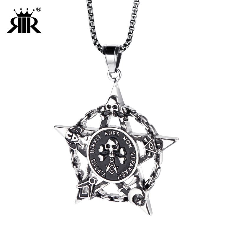 RIR men funk rock style Stainless Steel gothic gold skull five pointed star pendant necklace pentagram