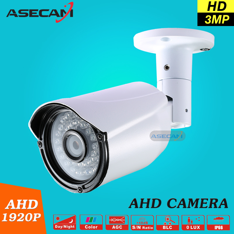 New Super 3MP HD Full 1920P AHD Camera Security CCTV White Metal Bullet Surveillance Waterproof 36 infrared Night Vision super 4mp full hd ahd security camera metal bullet outdoor waterproof 4 array infrared surveillance camera ov4689 chip