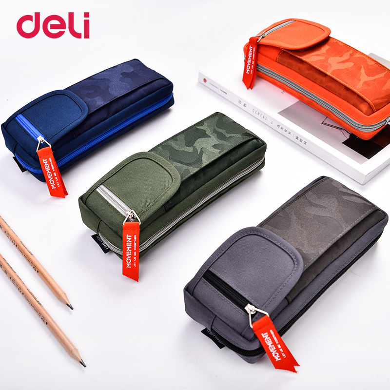Deli creative quality fabric big space pencil case for school kid camouflage office stationery supply kawaii pen box pouch bags