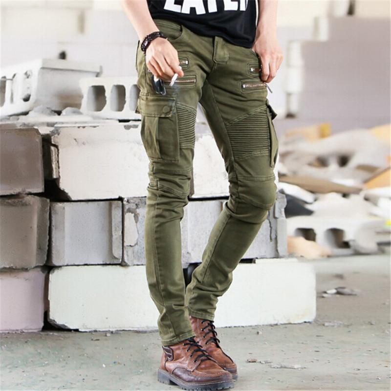 ФОТО 2017 Fire  Biker Jeans Men Skinny Cargo Pocket Jeans Brand Mens Designer Clothes Military Mens Denim Pants