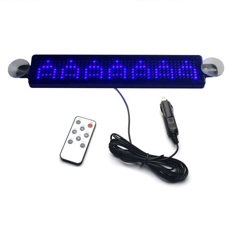 12 V Remote Led Programmable Sign Driving Lights,Car LED Message Sign Scrolling for Cars/motorcycle/bicycle/vehicle, Blue motion activated blue light 7 led message display wheel lights for bikes and cars