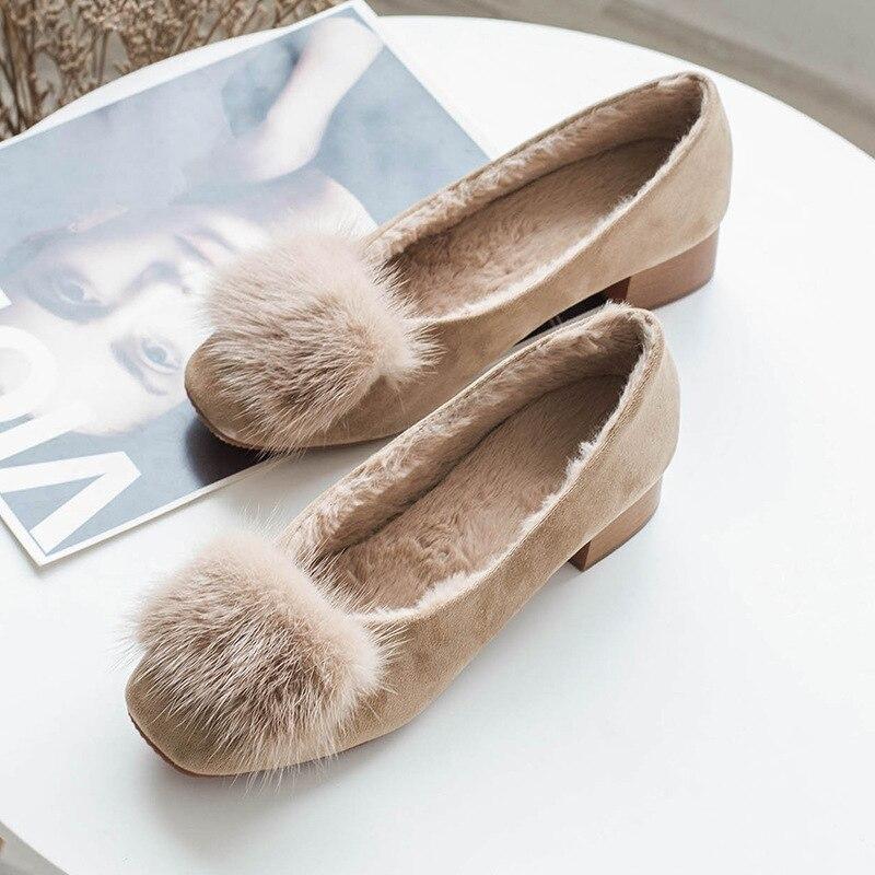 En Bajos Real Conejo Grueso Invierno Piel Felpa Tacón caqui Deslizamiento Mujer De Gamuza Janes Mary Mocasines Apricot Zapatos Zdz4qw