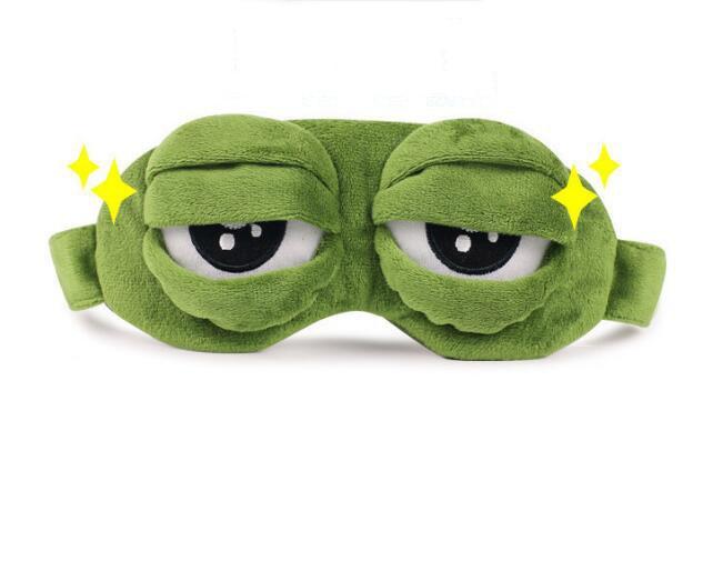 Máscara p/ Dormir Pepe meme sapo sapo Triste 3D Resto Sono Máscara de Olho Tampa Dormir brinquedo de pelúcia Engraçado Anime Cosplay acessórios Do Presente