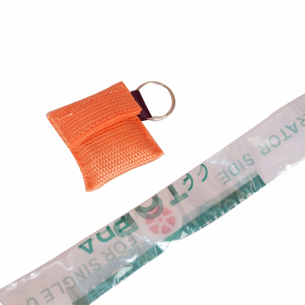 50 PCS /lot CPR MASK WITH KEYCHAIN CPR FACE SHIELD For Cpr/AED ORANGE COLOR NEW 50pairs lot emergency supplies ecg defibrillation electrode patch prompt aed defibrillator trainer accessories not for clinical