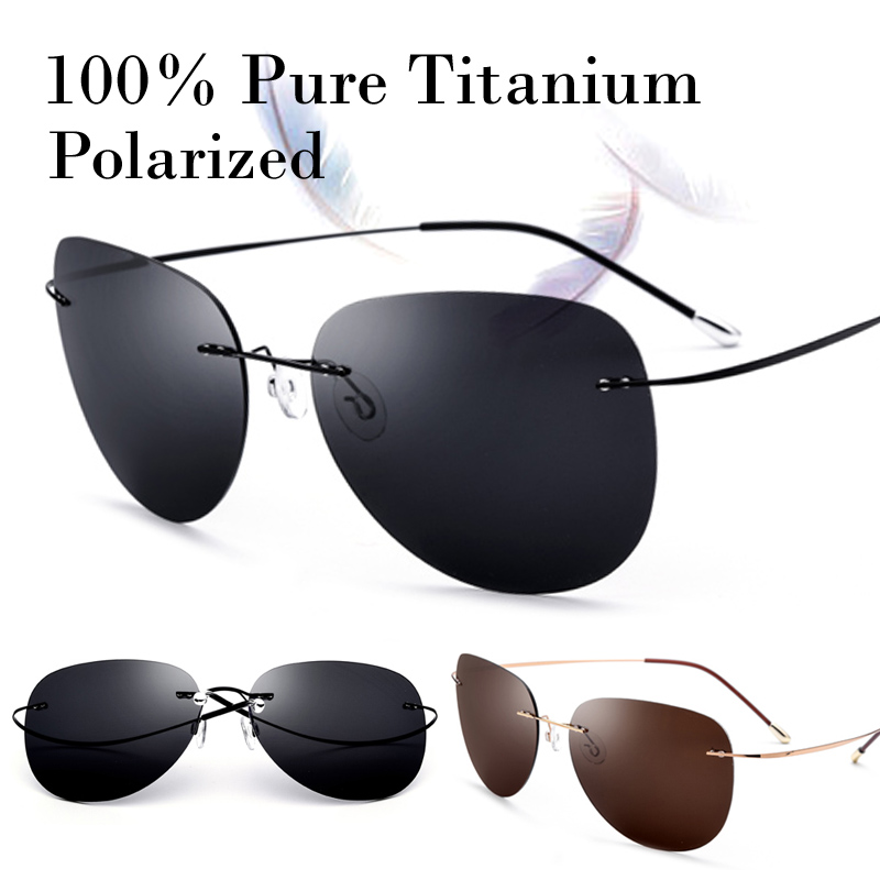 100% Real Titanium Ultralight No Screw Polarized Rimless Sunglasses Men Women With Box Sun Glasses Shade Oculos Gafas De Sol New