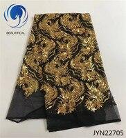 BEAUTIFICAL Đen vải ren lưới white gold seqins thêu ren vải Thời Trang vải ren châu phi cho phụ nữ bên JYN227
