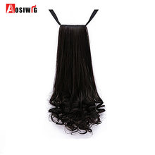 AOSIWIG Long Wavy Real Natural Ponytail Clip in Pony tail Hair Extensions Wrap Around on Synthetic Hair Piece for human(China)