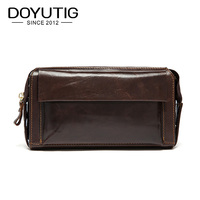 DOYUTIG Casual Men's Long Genuine Leather Day Clutch Bags Middle Size Male Money Purses Real Cow Leather Clutches Wallets B051