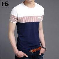 HS Cotton T Shirt Men 2016 Summer New Short Sleeve T Shirt Fashion Striped Gentleman Top
