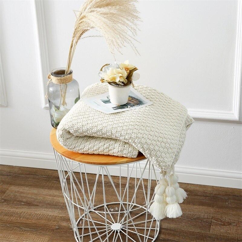 Nouvelle couverture de laine tricotée en coton d'hiver épaissir garder au chaud les coins respirants glands tricoter des couvertures drap de lit