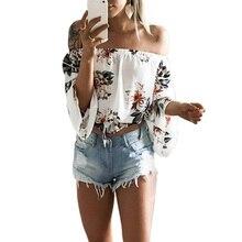 Women Summer Chiffon Blouse Loose off Shoulder Ruffles crop top women Bohemia Printed Tops Long Sleeve Shirt Blouse with a belt